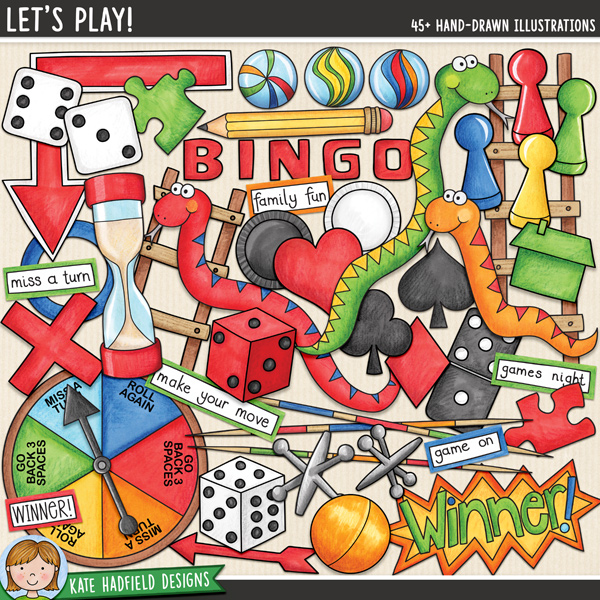 Let's Play! Board games digital scrapbook elements / cute game clip art! A fun set of illustrations that's perfect for family games nights! Hand-drawn doodles for digital scrapbooking, crafting and teaching resources from Kate Hadfield Designs.