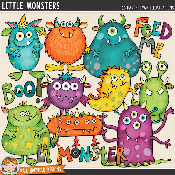 Little Monsters digital scrapbook elements / cute monster clip art (perfect for Halloween!). Hand-drawn doodles and illustrations for digital scrapbooking, crafting and teaching resources from Kate Hadfield Designs.