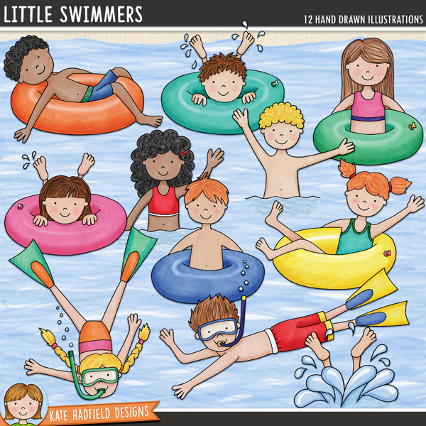 Little Swimmers - swimming kids digital scrapbook elements / cute summer swim clip art! Hand-drawn illustrations for digital scrapbooking, crafting and teaching resources from Kate Hadfield Designs. #digitalscrapbooking