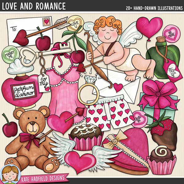 Love And Romance - romantic Valentine's Day digital scrapbook elements / cute love themed clip art! Hand-drawn doodles and illustrations for digital scrapbooking, crafting and teaching resources from Kate Hadfield Designs.