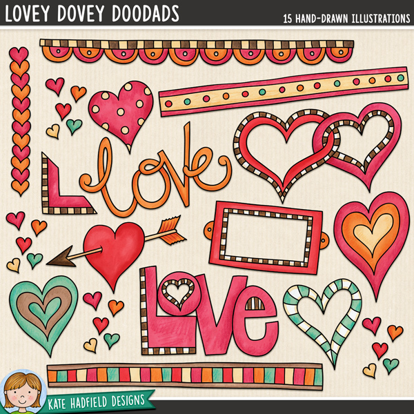 Lovey-Dovey Doodads - Valentine's Day digital scrapbook elements / cute loved themed clip art! Hand-drawn illustrations for digital scrapbooking, crafting and teaching resources from Kate Hadfield Designs.