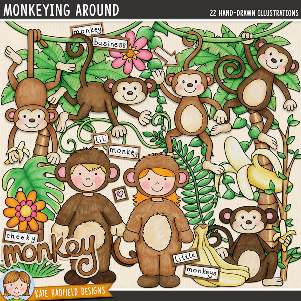Monkeying Around digital scrapbook elements / cute monkey clip art! Hand-drawn illustrations for digital scrapbooking, crafting and teaching resources from Kate Hadfield Designs.