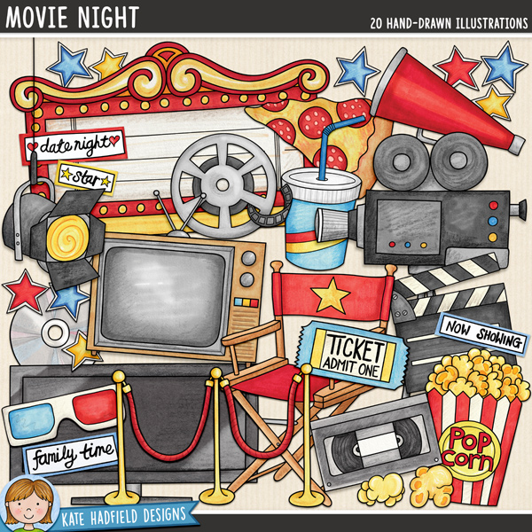 Movie night digital scrapbook elements / cute film movie clip art! This fun collection of doodles is perfect for recording memories of those special date nights at the cinema or cosy family evenings at home in front of the TV! Hand-drawn illustrations for digital scrapbooking, crafting and teaching resources from Kate Hadfield Designs.