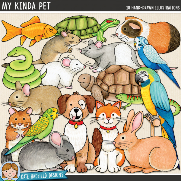 My Kinda Pet - animal digital scrapbook elements / cute pet clip art! Hand-drawn doodles and illustrations for digital scrapbooking, crafting and teaching resources from Kate Hadfield Designs.