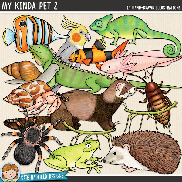 My Kinda Pet 2 - animal digital scrapbook elements / cute pet clip art! Hand-drawn doodles and illustrations for digital scrapbooking, crafting and teaching resources from Kate Hadfield Designs.