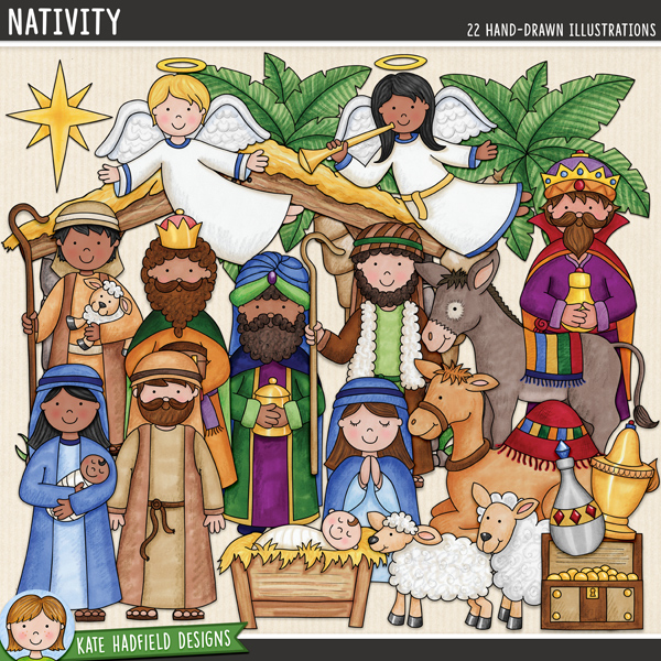 Nativity digital scrapbook elements / cute Christmas Story clip art! Hand-drawn illustrations for digital scrapbooking, crafting and teaching resources from Kate Hadfield Designs.