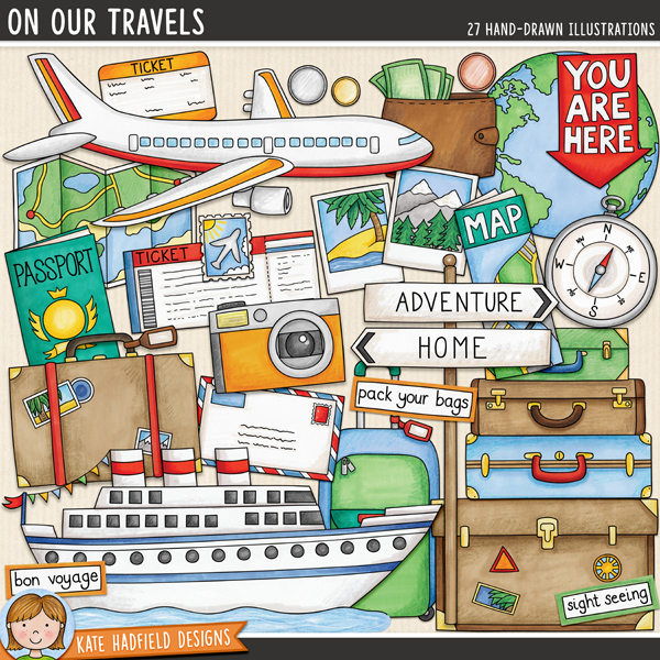 On Our Travels - vacation digital scrapbook elements / cute travel themed day clip art! Hand-drawn illustrations for digital scrapbooking, crafting and teaching resources from Kate Hadfield Designs.