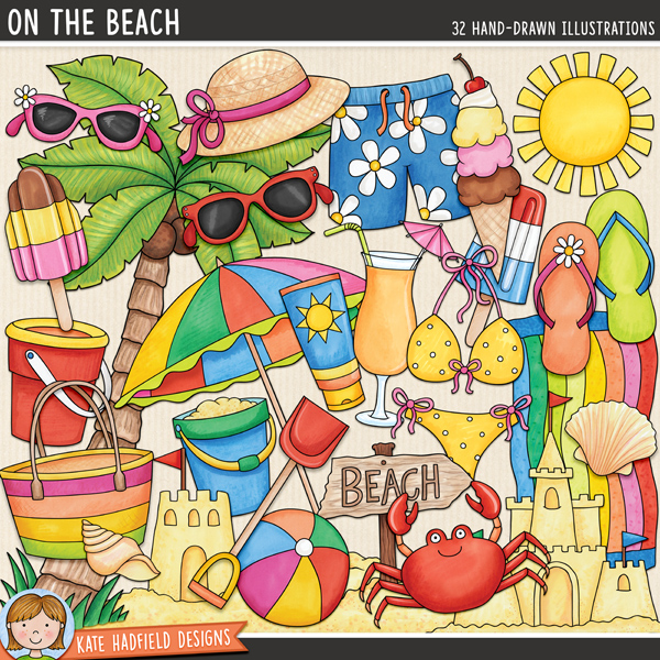 On the Beach - tropical beach digital scrapbook elements / cute summer beach clip art! Hand-drawn illustrations for digital scrapbooking, crafting and teaching resources from Kate Hadfield Designs. #digitalscrapbooking