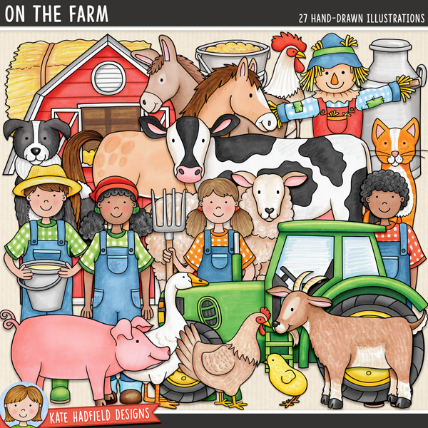 On the Farm - farm themed digital scrapbook elements / cute farmyard animals clip art! Hand-drawn doodles for digital scrapbooking, crafting and teaching resources from Kate Hadfield Designs.