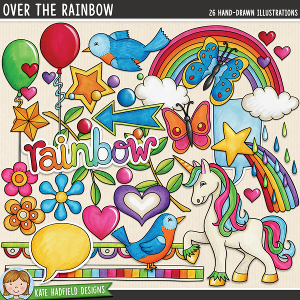 Over the Rainbow: 1980s retro kitsch digital scrapbook elements / cute 80s clip art! Hand-drawn doodles, clip art and line art for digital scrapbooking, crafting and teaching resources from Kate Hadfield Designs.