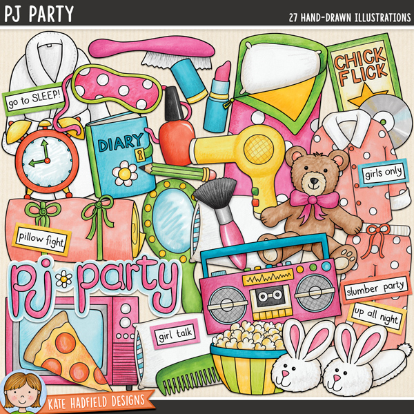 PJ Party digital scrapbook elements / cute slumber party and sleepover clip art! Hand-drawn doodles and illustrations for digital scrapbooking, crafting and teaching resources from Kate Hadfield Designs.