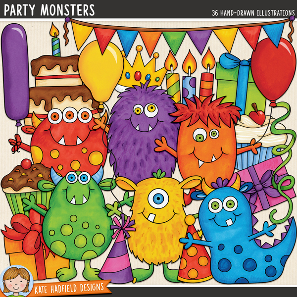 Everyone loves a party, especially the Party Monsters! Birthday party digital scrapbook elements / cute monster birthday clip art! Hand-drawn illustrations for digital scrapbooking, crafting and teaching resources from Kate Hadfield Designs.