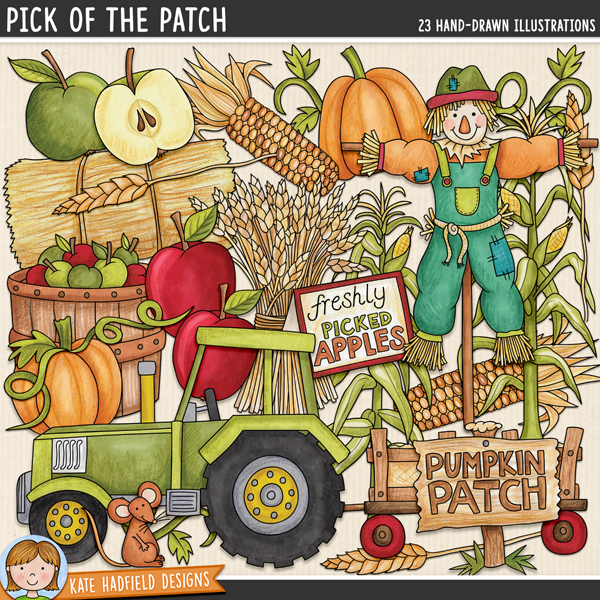 Pick of the Patch - Pumpkin Patch digital scrapbook elements / cute autumn harvest hayride clip art! Hand-drawn illustrations for digital scrapbooking, crafting and teaching resources from Kate Hadfield Designs.