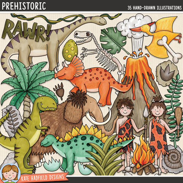 Prehistoric - dinosaur digital scrapbook elements / cute dino clip art! Hand-drawn illustrations for digital scrapbooking, crafting and teaching resources from Kate Hadfield Designs.