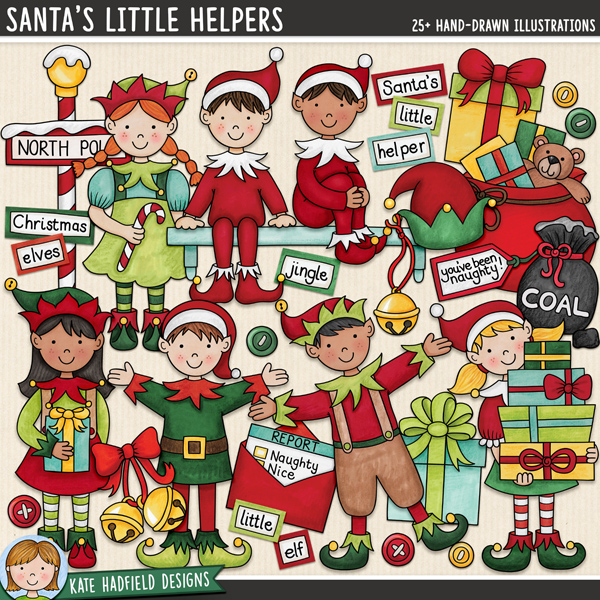 Santa's Little Helpers - Christmas elves digital scrapbook elements / cute Christmas characters clip art! Hand-drawn illustrations for digital scrapbooking, crafting and teaching resources from Kate Hadfield Designs.