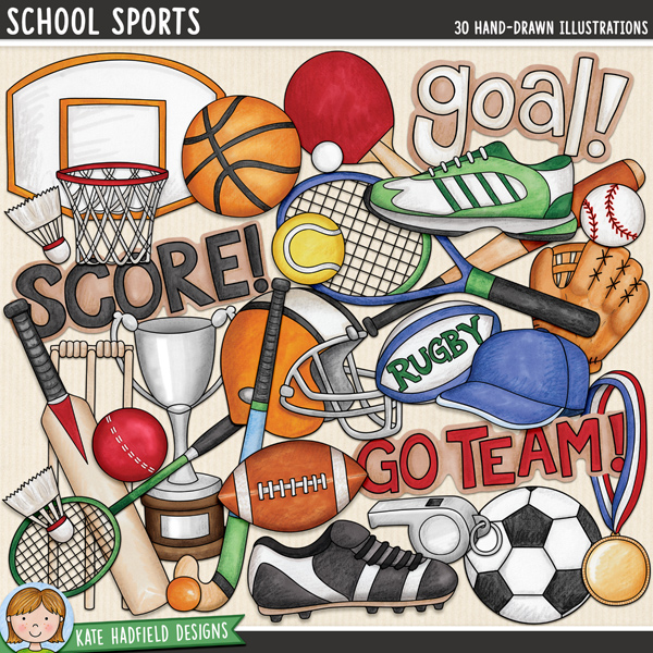 School sports digital scrapbook elements / cute P.E. themed clip art set! Hand-drawn illustrations for digital scrapbooking, crafting and teaching resources from Kate Hadfield Designs.