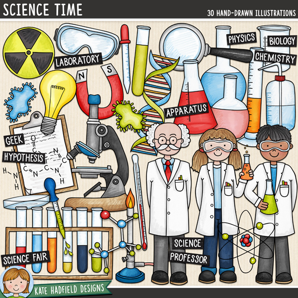 Science Time - school science digital scrapbook elements / cute science clip art! Hand-drawn illustrations for digital scrapbooking, crafting and teaching resources from Kate Hadfield Designs.