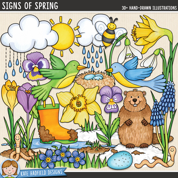 Signs of Spring - Springtime digital scrapbook elements / cute spring and groundhog day clip art! Hand-drawn illustrations for digital scrapbooking, crafting and teaching resources from Kate Hadfield Designs. #digitalscrapbooking