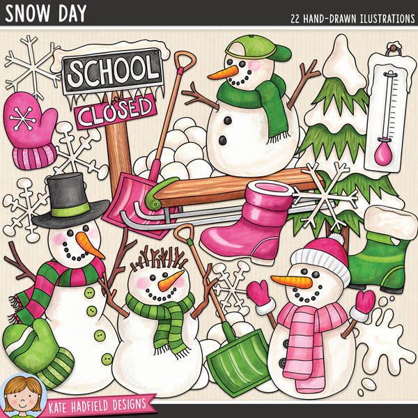 Snow Day - Winter digital scrapbook elements / cute snowman clip art! Hand-drawn illustrations for digital scrapbooking, crafting and teaching resources from Kate Hadfield Designs.