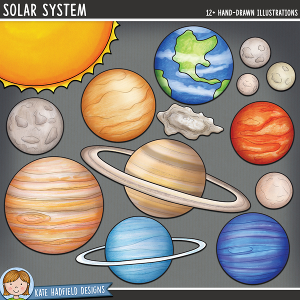 Solar system digital scrapbook elements / planet and space clip art! Hand-drawn doodles, clip art and line art for digital scrapbooking, crafting and teaching resources from Kate Hadfield Designs.