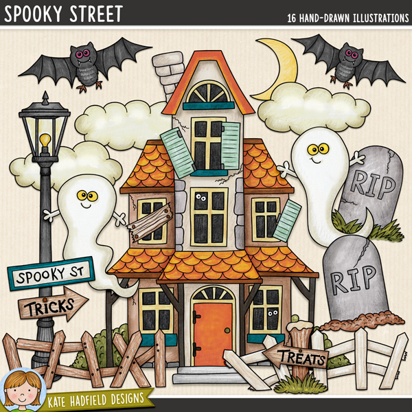 Spooky Street - haunted house digital scrapbook elements / cute Halloween characters clip art! Hand-drawn doodles and illustrations for digital scrapbooking, crafting and teaching resources from Kate Hadfield Designs.