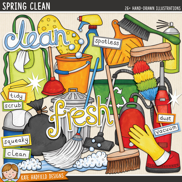 Spring Clean - cleaning digital scrapbook elements / cute household chores clip art! This fun set is perfect for creating chore charts and cleaning rotas! Hand-drawn illustrations for digital scrapbooking, crafting and teaching resources from Kate Hadfield Designs.