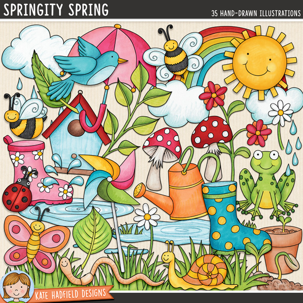 Springity Spring - digital scrapbook elements / cute springtime clip art! Hand-drawn illustrations for digital scrapbooking, crafting and teaching resources from Kate Hadfield Designs.