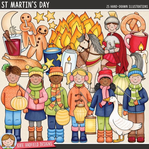 St Martin's Day digital scrapbook elements / cute Martinstag clip art! Hand-drawn doodles and illustrations for digital scrapbooking, crafting and teaching resources from Kate Hadfield Designs.