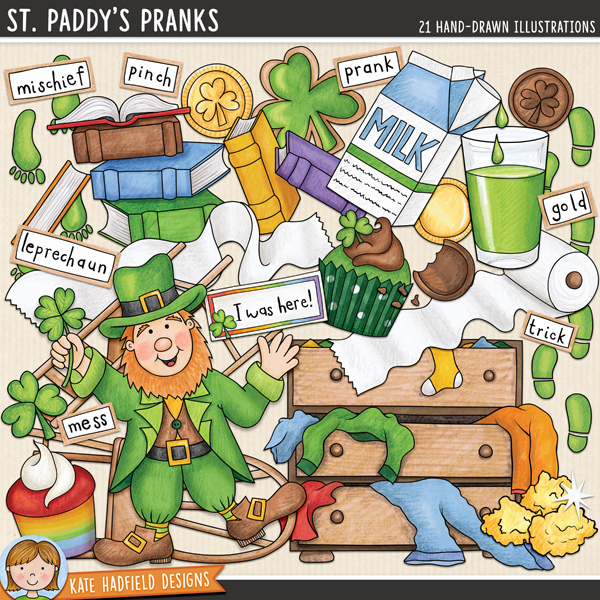 St Patrick's Day digital scrapbook elements / cute leprechaun clip art! Hand-drawn clip art and line art for digital scrapbooking, crafting and teaching resources from Kate Hadfield Designs.