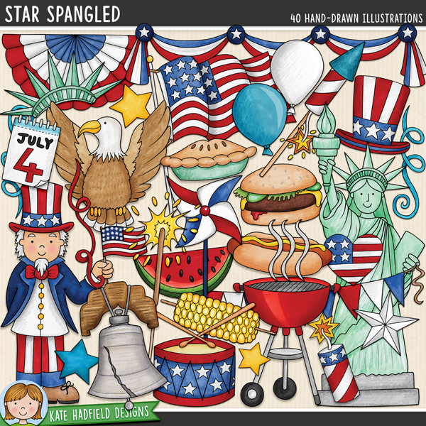 Star Spangled - 4th July digital scrapbook elements / cute American Independence Day clip art! Hand-drawn doodles and illustrations for digital scrapbooking, crafting and teaching resources from Kate Hadfield Designs.
