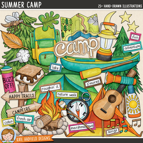 Summer Camp - camping digital scrapbook elements/ cute summer camp clip art! Hand-drawn doodles and illustrations for digital scrapbooking, crafting and teaching resources from Kate Hadfield Designs.