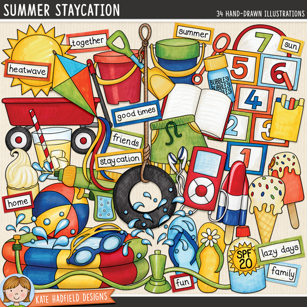 Summer Staycation digital scrapbook elements / cute summer backyard activities clip art! Hand-drawn doodles and illustrations for digital scrapbooking, crafting and teaching resources from Kate Hadfield Designs. #digitalscrapbooking