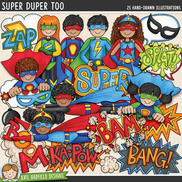 Super Duper Too - a fun collection of colourful super heroes all ready to jump in and save the world! (Companion pack to my Super Duper set!) Hand-drawn clip art illustrations for digital scrapbooking, crafting and teaching resources from Kate Hadfield Designs.