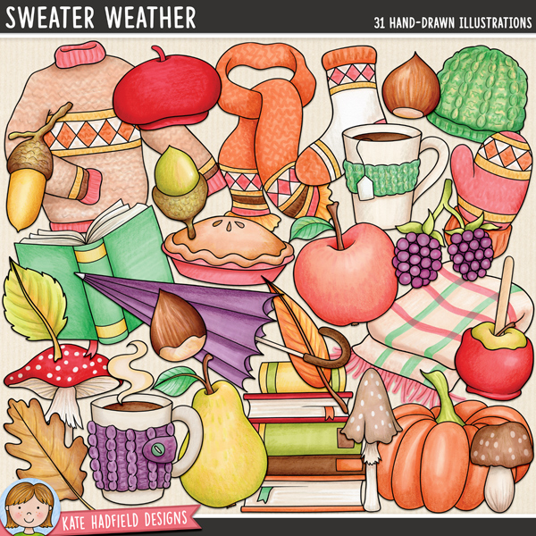 Sweater Weather - autumn digital scrapbook element / cute fall clip art! Hand-drawn doodles and illustrations for digital scrapbooking, crafting and teaching resources from Kate Hadfield Designs.