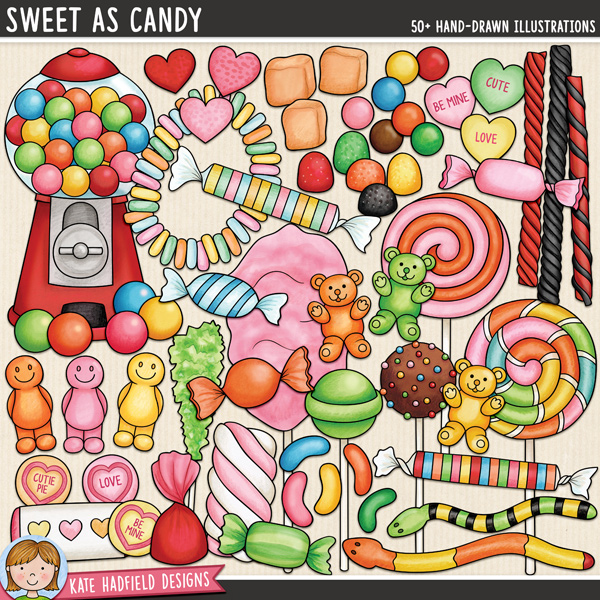 Sweet As Candy - confectionery and sweets digital scrapbook elements / cute candy clip art! Hand-drawn doodles and illustrations for digital scrapbooking, crafting and teaching resources from Kate Hadfield Designs.