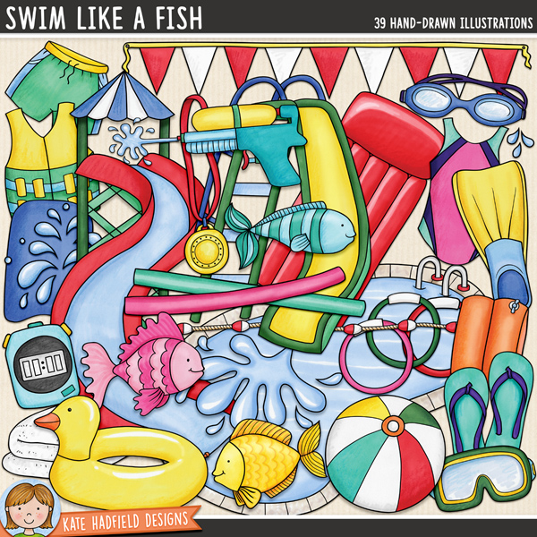 Swim Like a Fish - swimming digital scrapbook elements / cute summer pool party clip art set! Hand-drawn doodles and illustrations for digital scrapbooking, crafting and teaching resources from Kate Hadfield Designs.