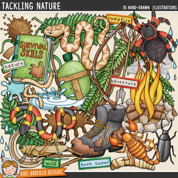 Tackling Nature is a jam-packed, down and dirty doodle pack created for all the intrepid explorers out there! Bush craft digital scrapbook elements / outdoors clip art set! Hand-drawn illustrations for digital scrapbooking, crafting and teaching resources from Kate Hadfield Designs.