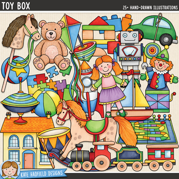 Toy Box - traditional toys digital scrapbook elements / cute toy clip art! Hand-drawn doodles and illustrations for digital scrapbooking, crafting and teaching resources from Kate Hadfield Designs.