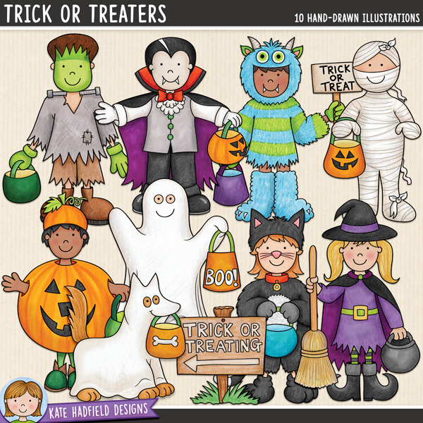 Trick or Treaters - a fun collection of Halloween kids in costume, all ready to go trick-or-treating! Halloween character digital scrapbook elements / cute  clip art! Hand-drawn doodles and illustrations for digital scrapbooking, crafting and teaching resources from Kate Hadfield Designs.