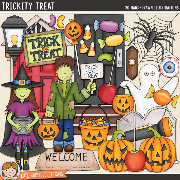 Trickity Treat - Halloween trick-or-treat digital scrapbook elements / cute Halloween characters clip art! Hand-drawn illustrations for digital scrapbooking, crafting and teaching resources from Kate Hadfield Designs.