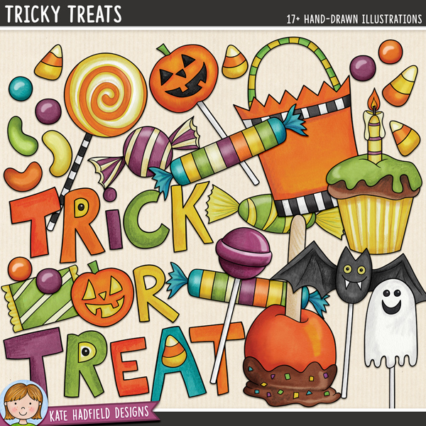Tricky Treats -  digital scrapbook elements / cute Halloween candy clip art inspired by the contents of my children's trick-or-treat bags! Hand-drawn illustrations and doodles for digital scrapbooking, crafting and teaching resources from Kate Hadfield Designs.