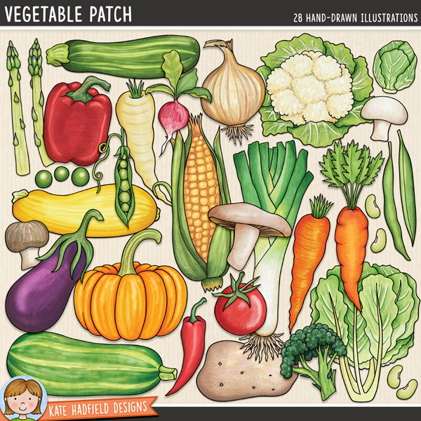Vegetable Patch - vegetable digital scrapbook elements / cute veggies clip art! Hand-drawn illustrations for digital scrapbooking, crafting and teaching resources from Kate Hadfield Designs.