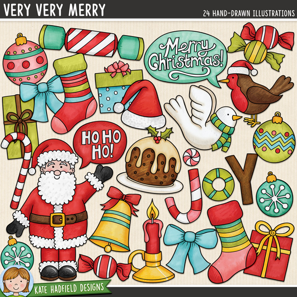 Very Very Merry - Christmas digital scrapbook elements / cute Santa clip art!  Hand-drawn illustrations for digital scrapbooking, crafting and teaching resources from Kate Hadfield Designs.