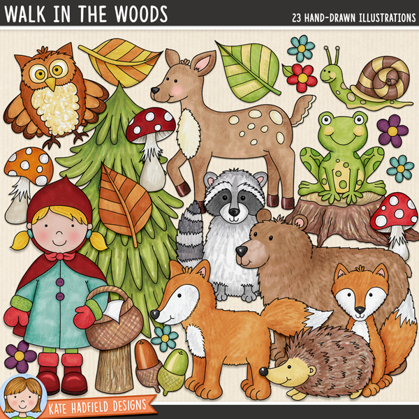 Walk in the Woods - forest animal digital scrapbook elements and cute woodland creatures clip art! Hand-drawn illustrations for digital scrapbooking, crafting and teaching resources from Kate Hadfield Designs.