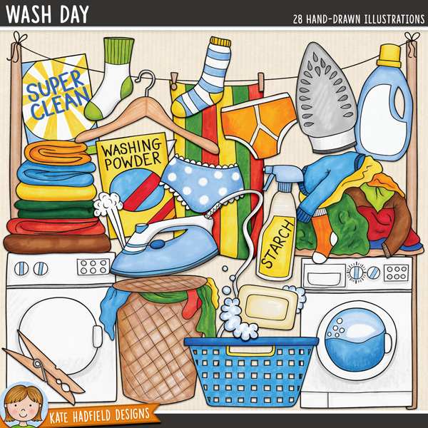Wash Day - laundry digital scrapbook elements / cute household chore clip art! Hand-drawn clip art and line art for digital scrapbooking, crafting and teaching resources from Kate Hadfield Designs.