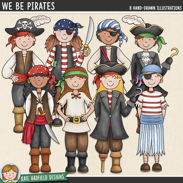 Pirate kids digital scrapbook elements / cute pirates clip art! Hand-drawn doodles for digital scrapbooking, crafting and teaching resources from Kate Hadfield Designs.