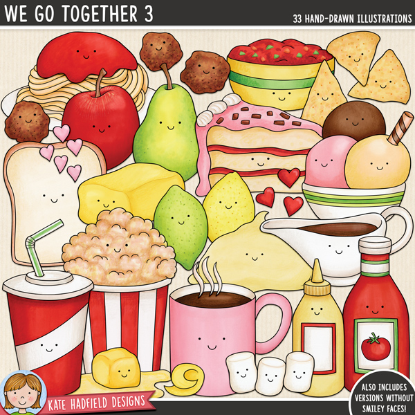 We Go Together 3 - fun food pairs digital scrapbook elements / cute Valentines food clip art! Hand-drawn doodles and illustrations for digital scrapbooking, crafting and teaching resources from Kate Hadfield Designs.
