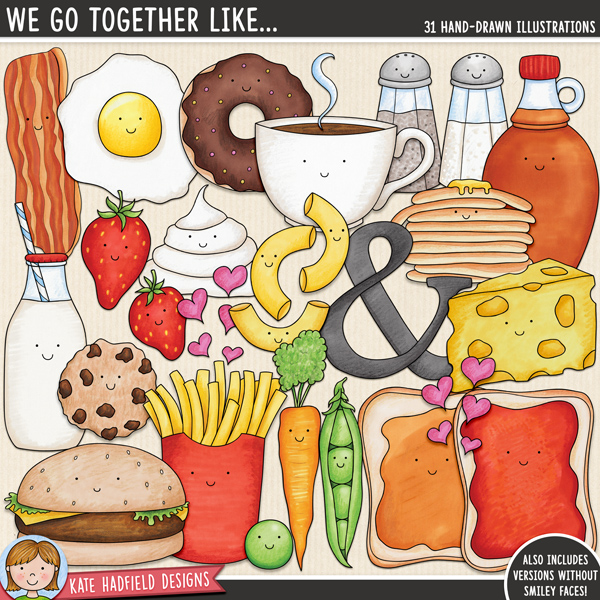 'We Go Together Like' - Food Pairs digital scrapbook elements / cute Valentines food clip art! Hand-drawn doodles and illustrations for digital scrapbooking, crafting and teaching resources from Kate Hadfield Designs.