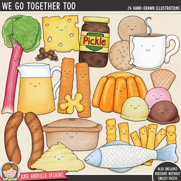 We Go Together Too - British Food Pairs digital scrapbook elements / cute Valentines food clip art!  Hand-drawn doodles for digital scrapbooking, crafting and teaching resources from Kate Hadfield Designs.