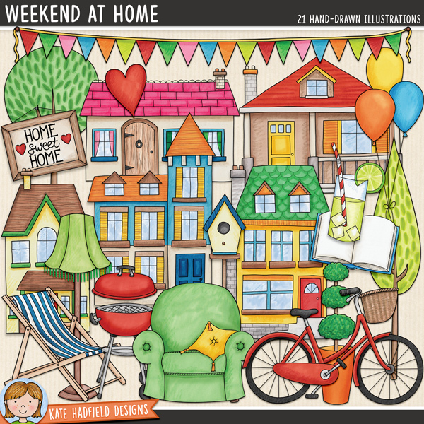 Weekend at Home - house and home digital scrapbook elements / cute household clip art set! Hand-drawn doodle illustrations for digital scrapbooking, crafting and teaching resources from Kate Hadfield Designs.